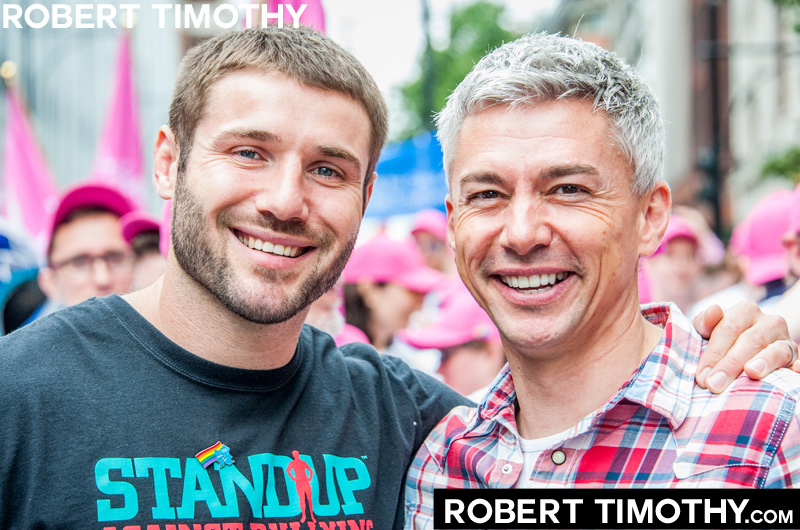 British rugby player Ben Cohen and Olympic athlete Jonathan Edwards at the 2012 World Gay Pride parade in Central London