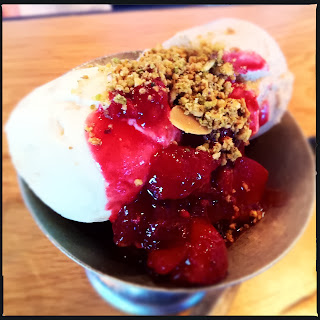 Vanilla ice cream, crushed nuts and seasonal berries