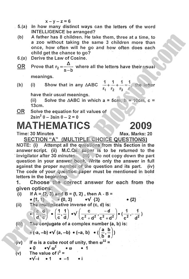 Mathematics-2009-five-year-paper-class-XI