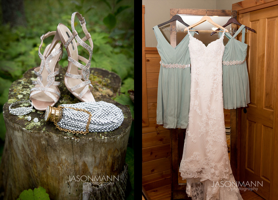 Silver sparkly shoes, jewelry and purse. Lace wedding dress and teal bridesmaid dresses. Door County wedding. Photo by Jason Mann Photography, 920-246-8106, www.jmannphoto.com