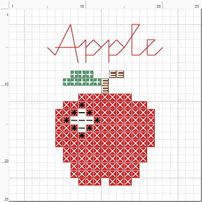Free apple cross stitch pattern. For personal use only.  (c) Erin E. Turowski, 2012.