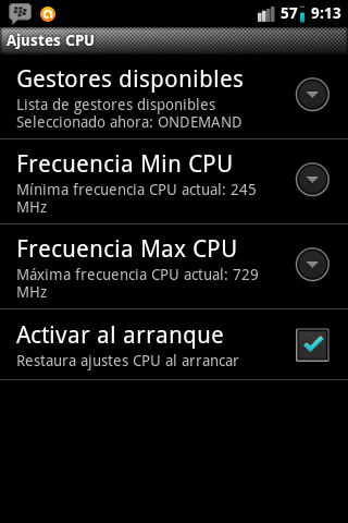 Ajustes CPU Overclock Android Cyanogenmod