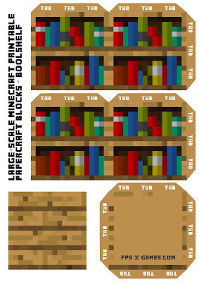 Large Scale printable Minecraft Bookshelf