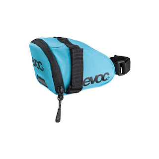 blue EVOC bike saddle bag