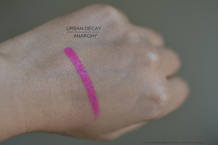 Urban Decay Makeup Revolution Lipstick Anarchy Indian darker Skin Beauty Blog Swatches Photos Review