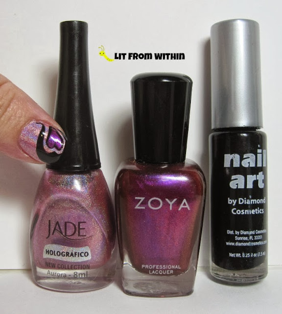 Bottle shot:  Jade Aurora, Zoya Mason, and a black striper