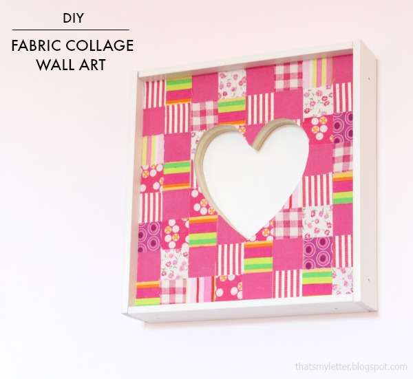 diy fabric collage heart wall art