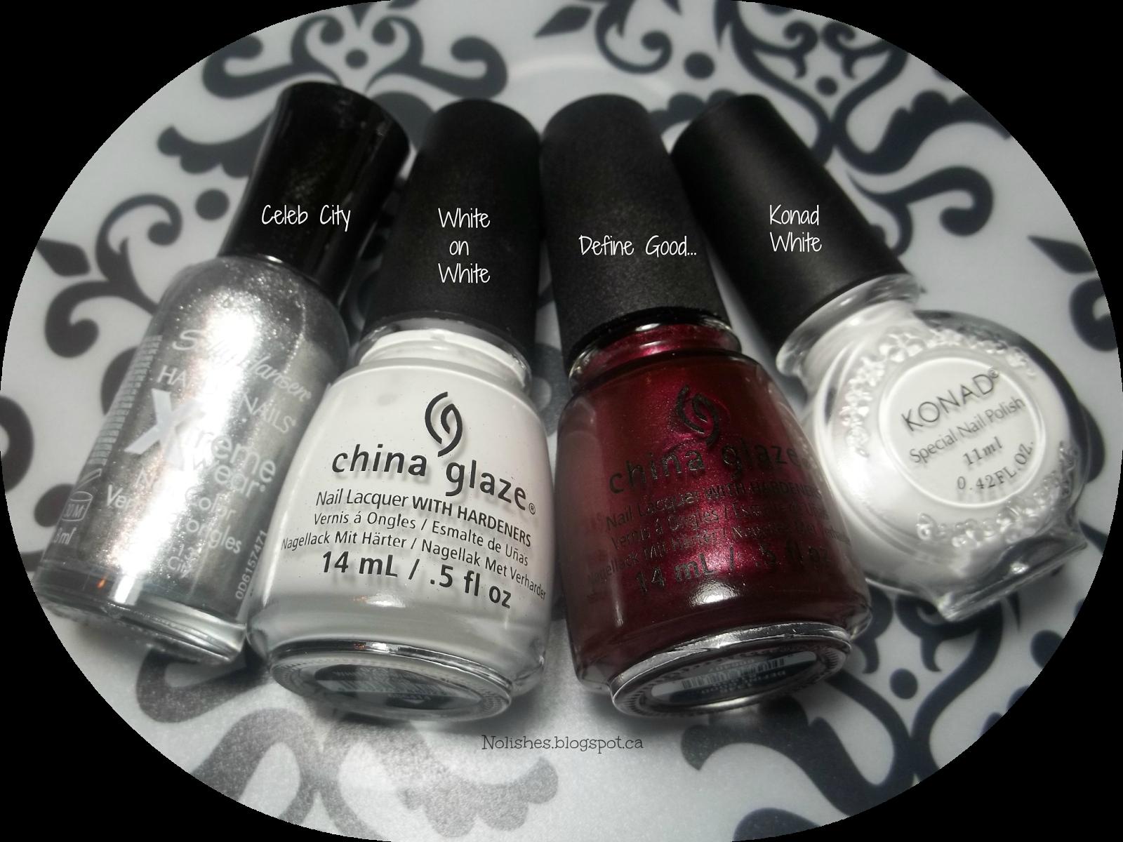 Sally Hansen Xtreme Wear 'Celeb City', China Glaze 'White on White', China Glaze 'Define Good...', and Konad Special Polish in White