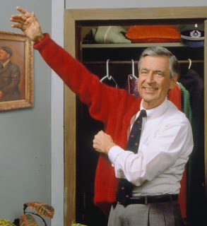 Mr Rogers in his dressing room before the show