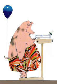 illustration of a pig on a scale watching his weight by Robert Wagt