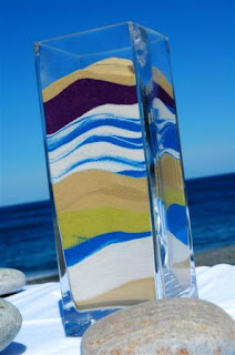 colored sand in vases decor