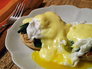 Closeup of Eggs Florentine