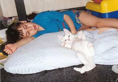 boy sleeping with kitten stretching