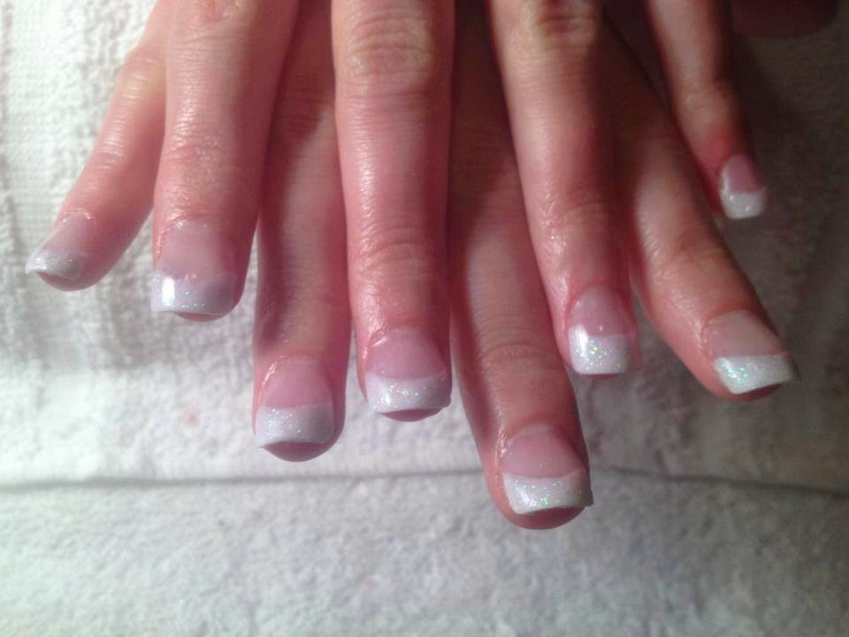 Acrylic french White and Hard gel glitz