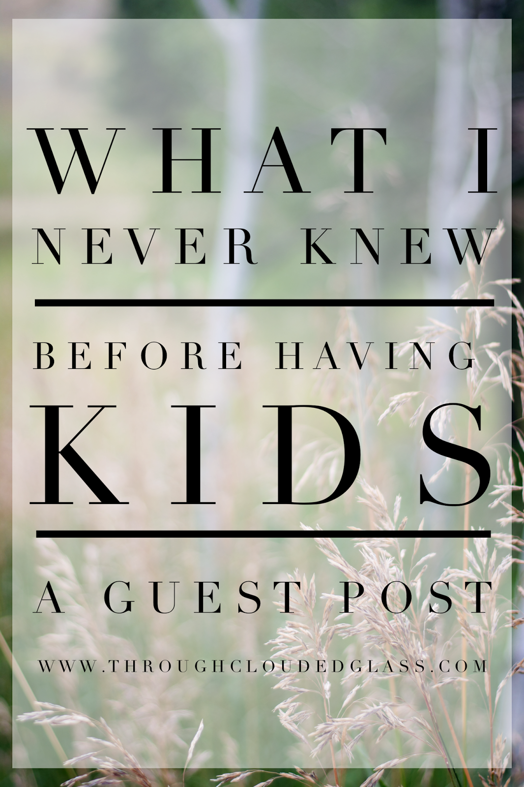 What I Never Knew Before Having Kids | Through Clouded Glass