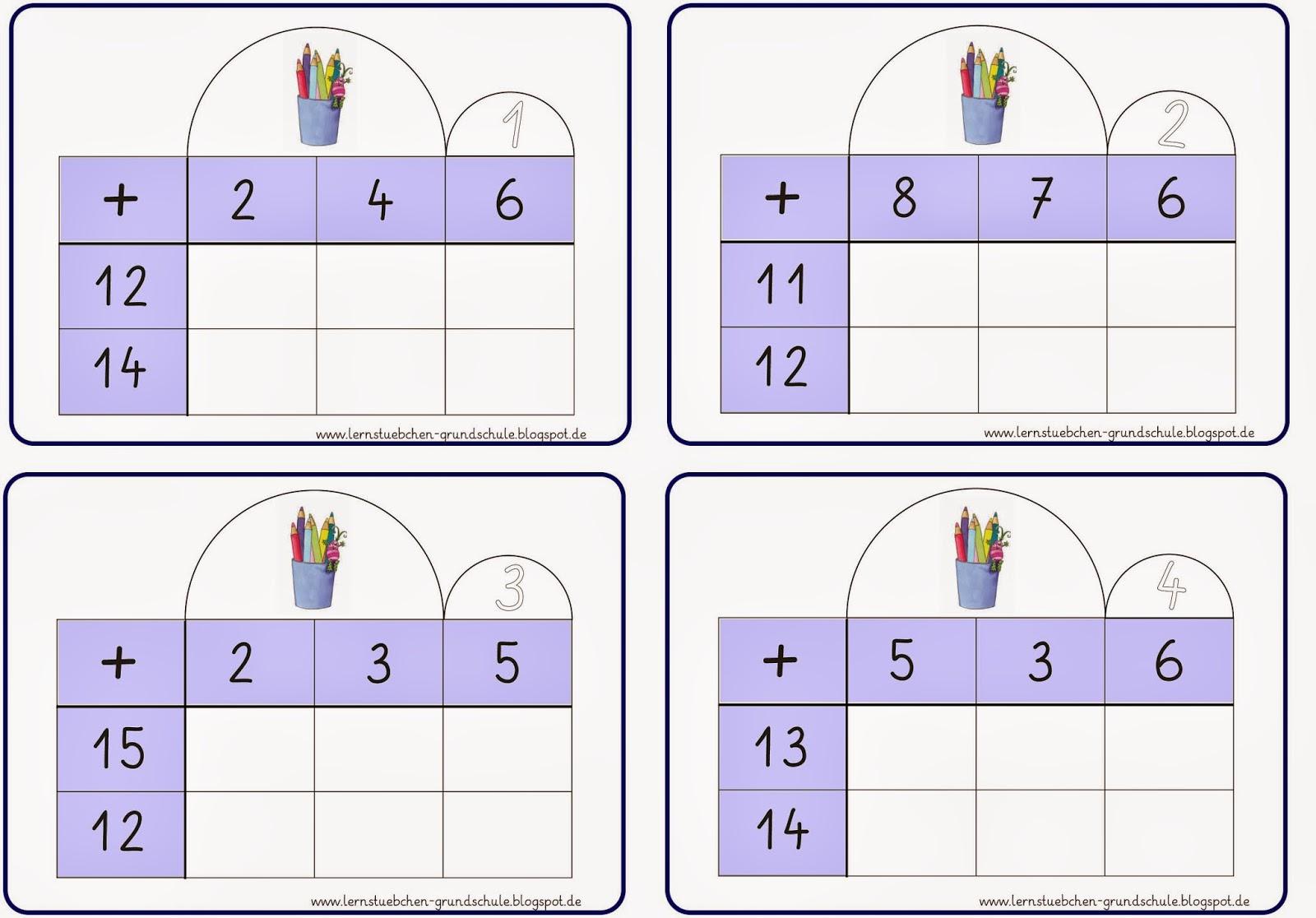 Lernstübchen: Tabellenrechnen im 2. Zehner