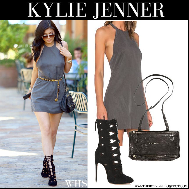 Kylie Jenner in grey mini NBD dress with black suede Alaia cutout boots what she wore july 31