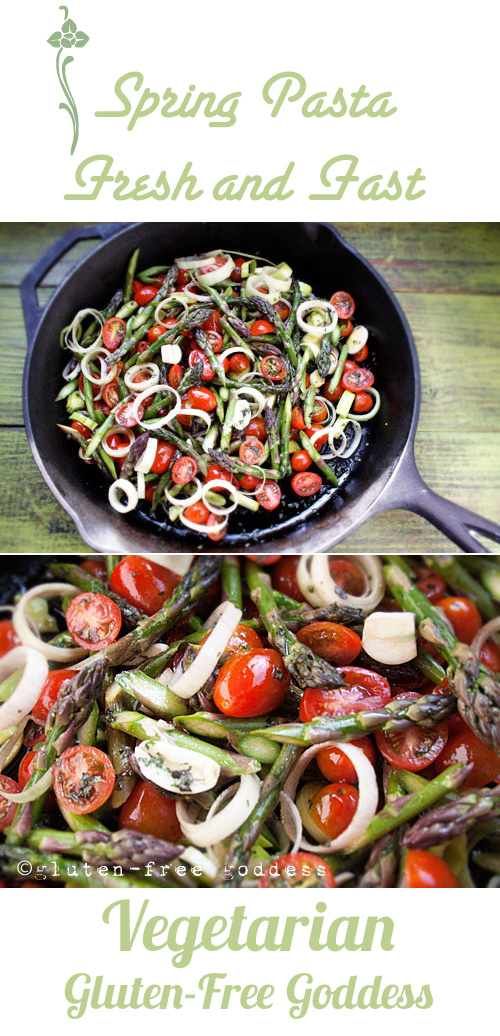 Karina's romantic gluten-free pasta recipe with roasted asparagus and tomatoes.