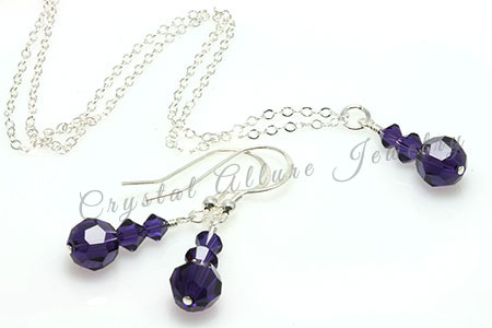 Amanda's Custom Purple Crystal Bridesmaid Jewelry Set