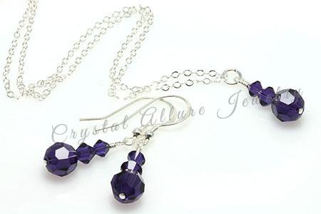 Amanda's Custom Purple Crystal Bridesmaid Jewelry Set