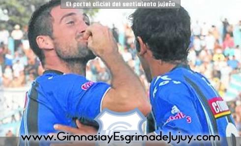Sebastián Díaz festeja el gol tan esperado por Gimnasia de Jujuy