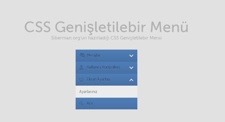 Css Genişletilebilir Menü ekran ayarları