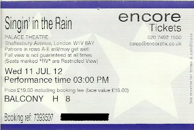 Singin' in the Rain Palace Theatre ticket