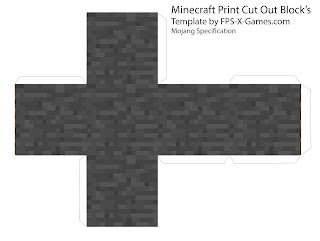 Minecraft stone block papercraft cut out template