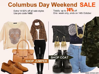 romwe columbus day sale on fashion and cookies