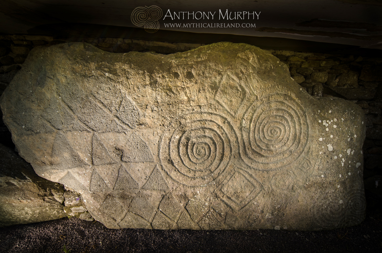 Mythical ireland kerbstone at newgrange