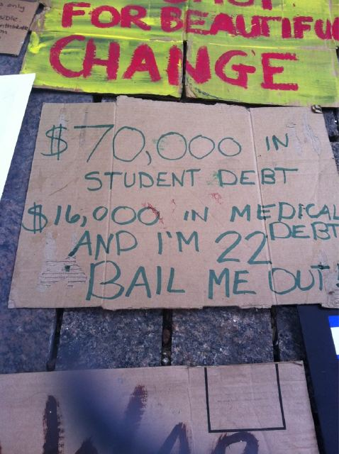 Occupy Wall Street sign about student loans and medical bills of a 22 year old protester, Sept., 2011