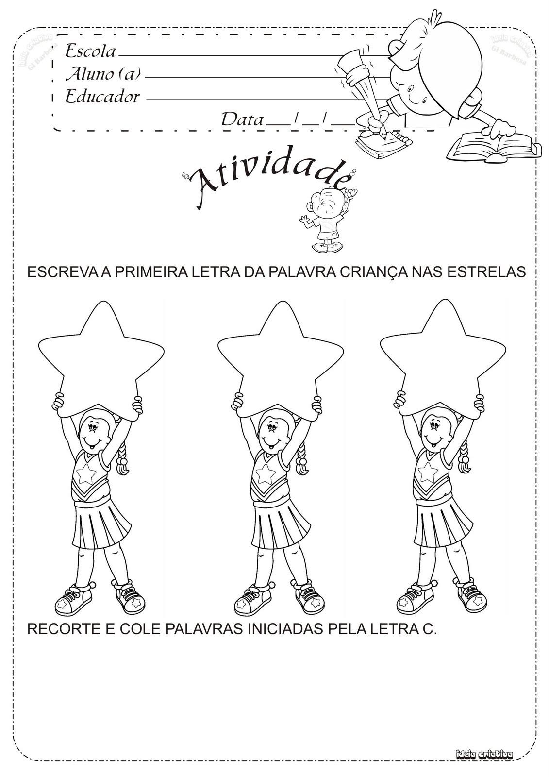 Atividade para o Dia da Criança Letra C