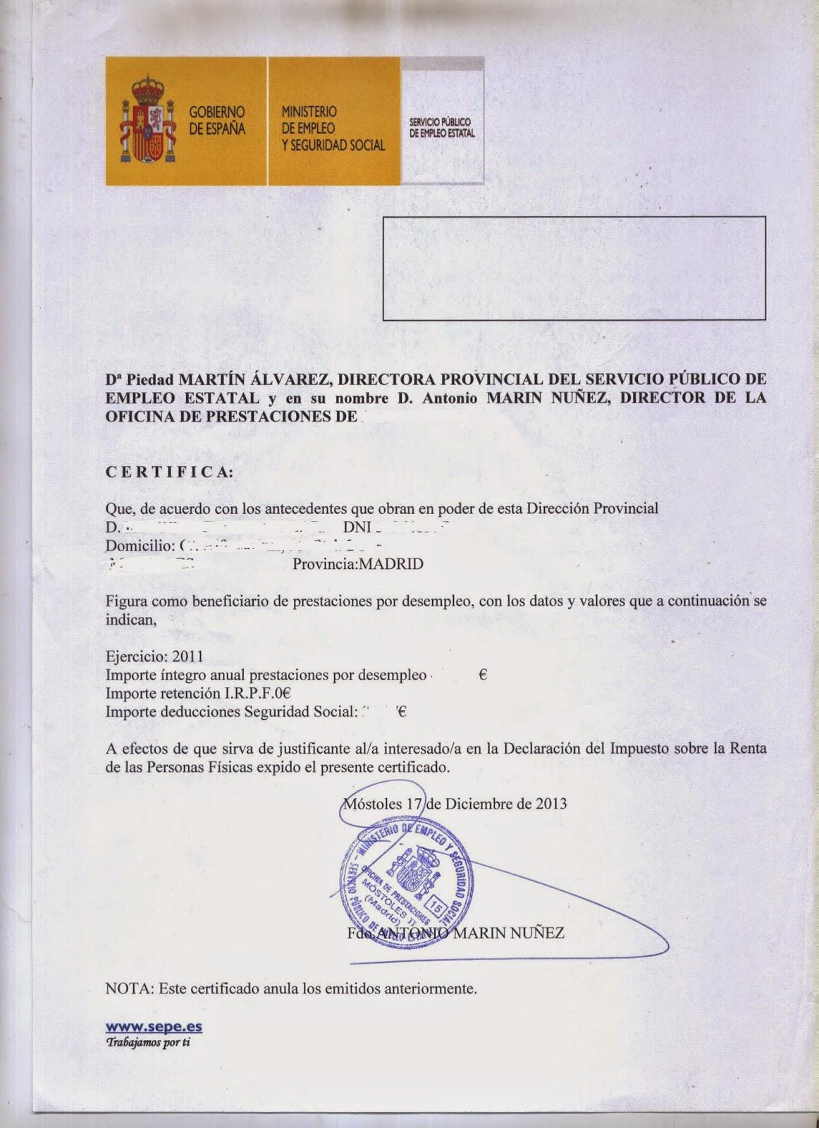 Certificado De No Cobrar Prestaciones Por Desempleo Unifeed Club