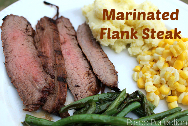 Marinated Flank Steak with Potatoes, Corn and Green Beans