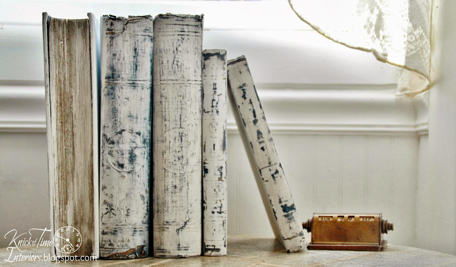 White painted books prettying up ugly old books knick for Antique books for decoration