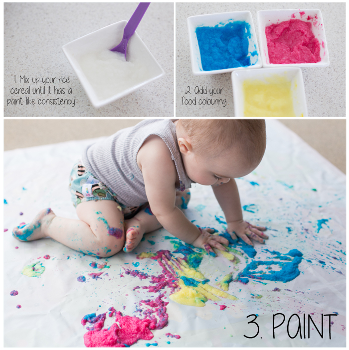 Adore cherish love sensory sunday edible painting for Arts and crafts for a 1 year old