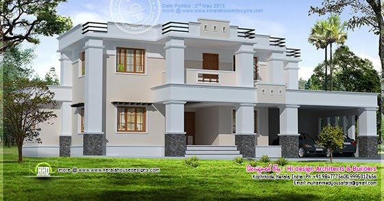 Square roof home elevation in 2400 kerala home for Terrace elevation designs