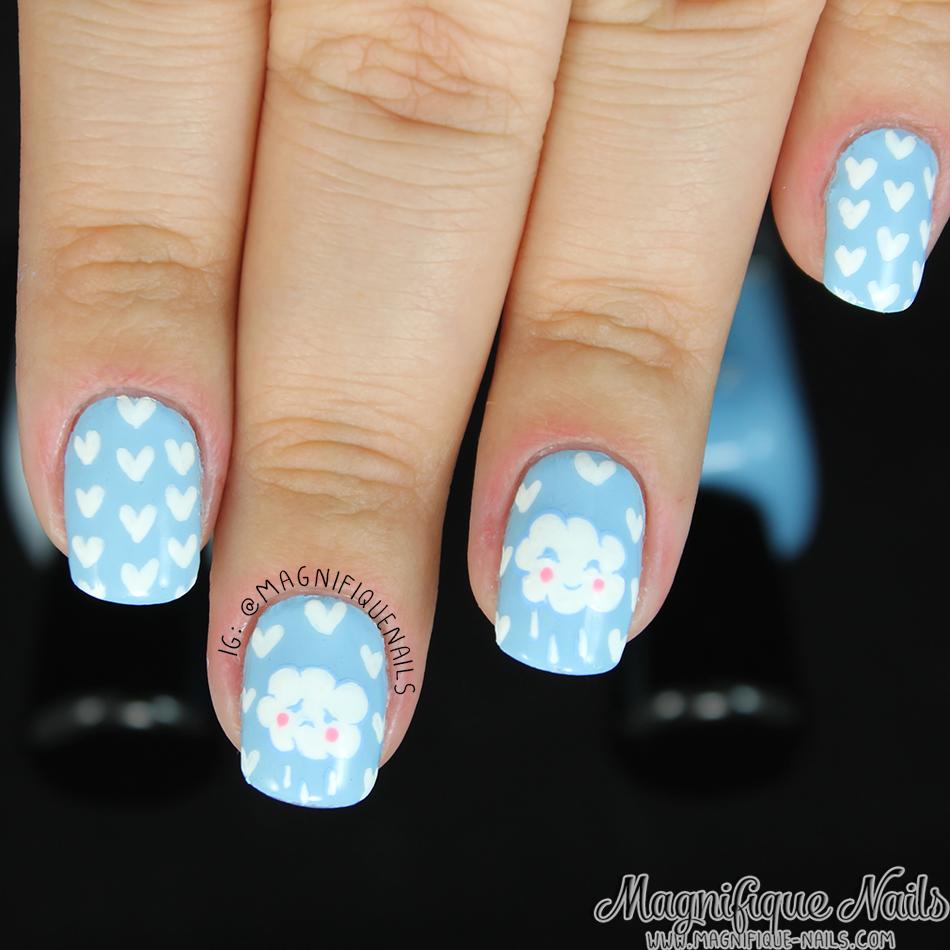 Magically Polished |Nail Art Blog|: Hearts & Cloudy Rain Nails