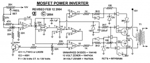 Circuit Diagram Schematic of 1000 Watt Mosfet Power Inverter