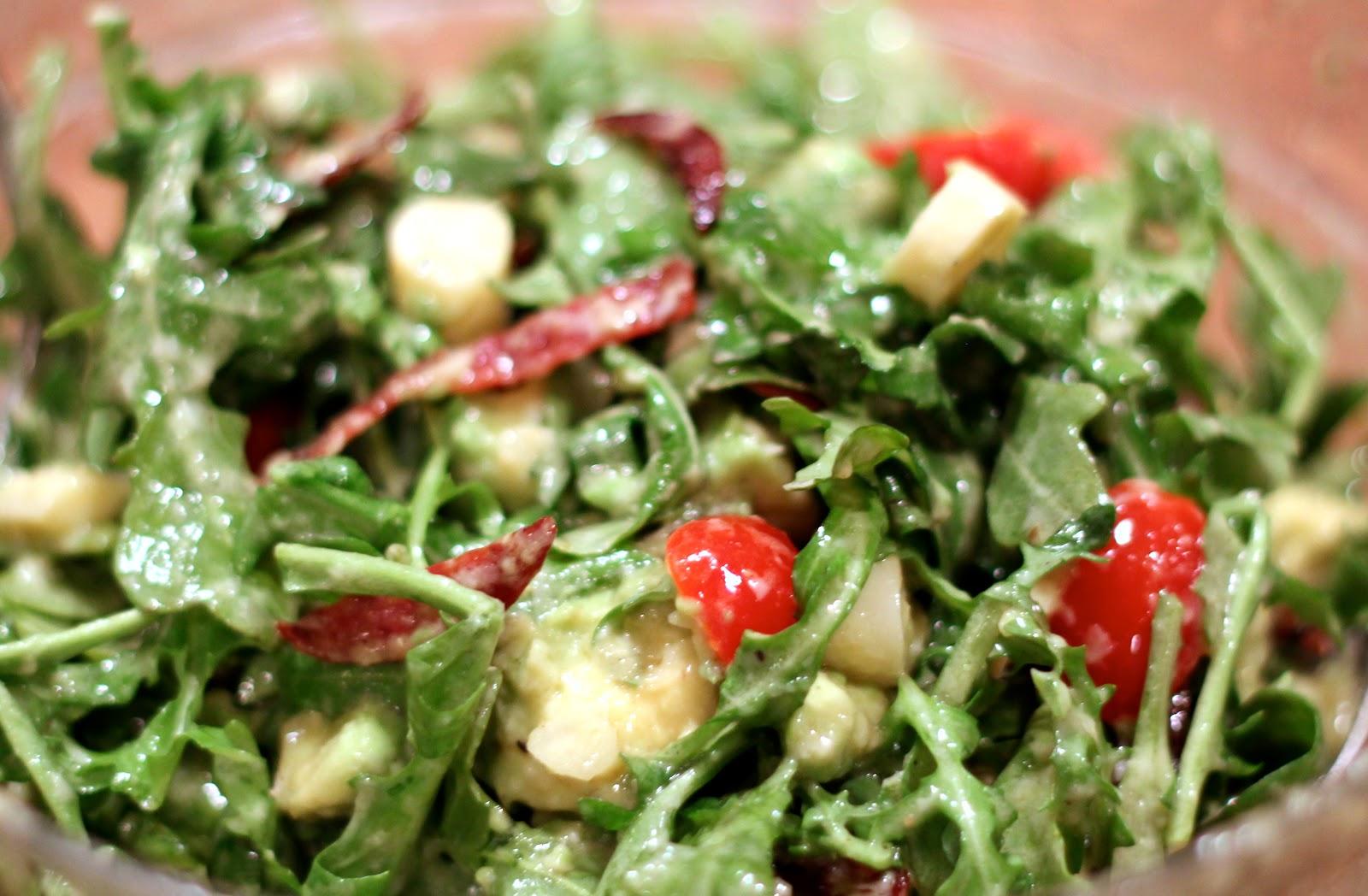 Imperfect Polish: Creamy Parmesan Arugula Salad with Crispy Salami