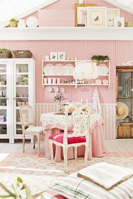 diseño comedor rosa