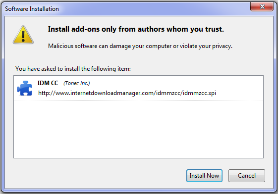 Add Ons IDM CC for Mozilla Firefox 11