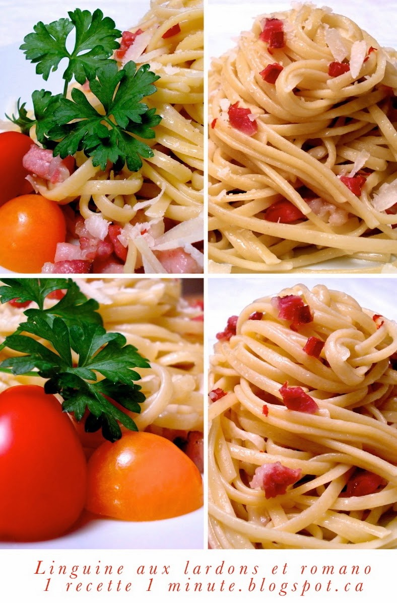 1 recette de p te alimentaire linguine aux lardons et au fromage pecorino romano. Black Bedroom Furniture Sets. Home Design Ideas