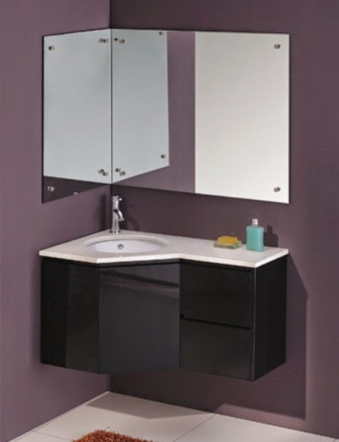 Black bathroom vanities vienna wall hung corner bathroom vanity for Black corner bathroom cabinet