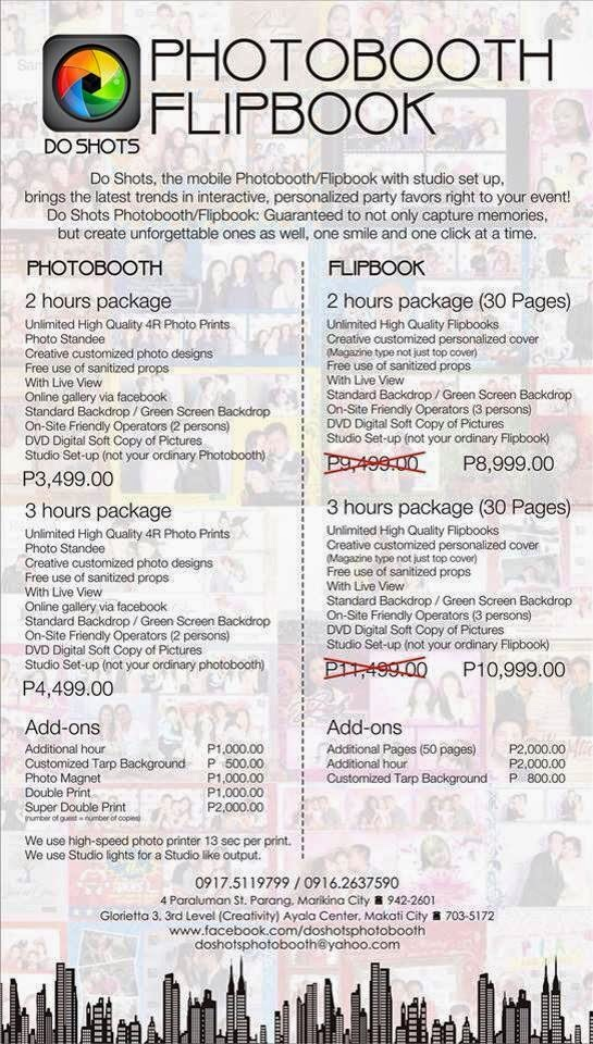 DoShots photobooth package rates
