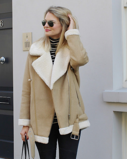 ray ban sunglasses, ray ban aviator glasses, shearling jacket, zara shearling jacket, zara biker jeans, warehouse boots, helmer jojo bag
