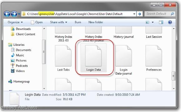 Tìm kiếm các file lưu mật khẩu trong của Google Chrome