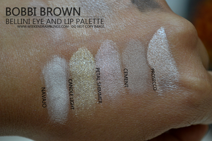 Bobbi Brown Bellini Lipgloss Eyeshadow Palette Holiday 2012 Makeup Gifts Collection Swatches Indian Darker Skin Beauty Blog Navajo Candle Light Petal Shimmer Cement Prosecco