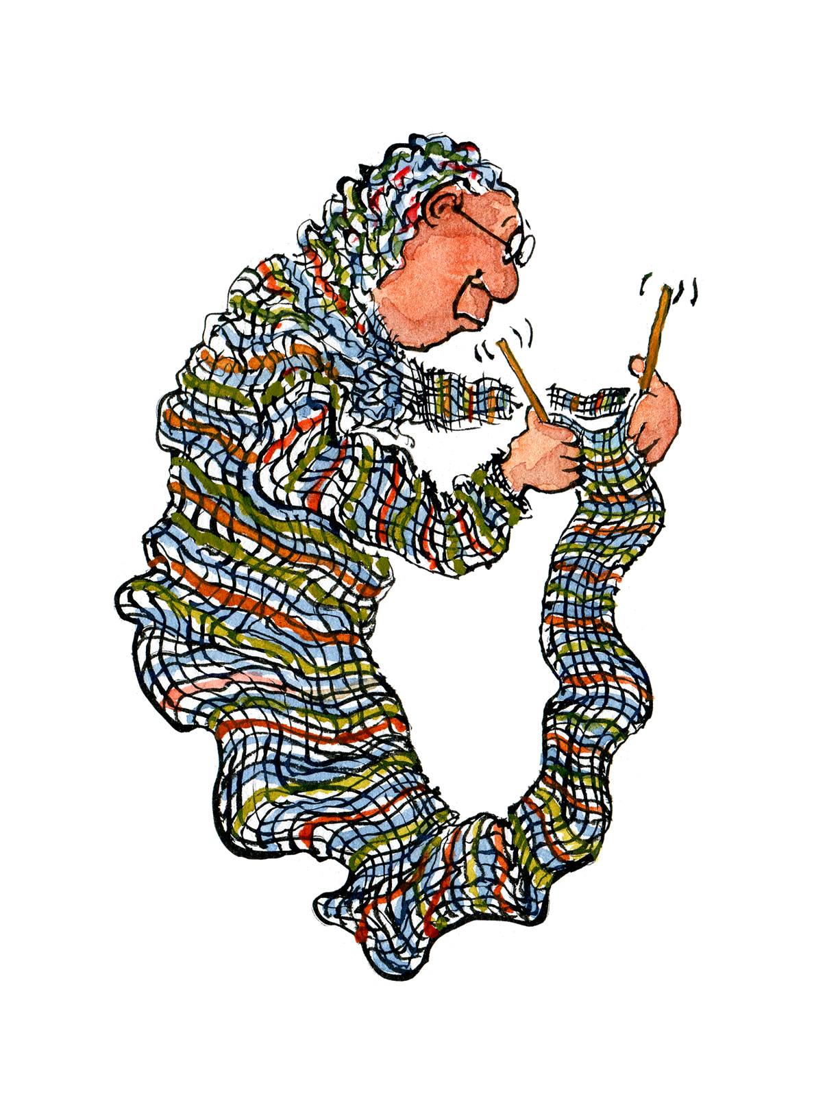 Woman Knitting Clipart : Old woman knitting up herself illustration hikingartist