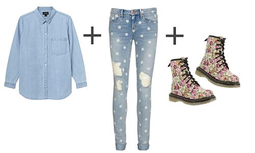 Denim shirt, patterned denim jeans and floral boots.